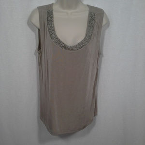 Chicos Travelers top tank Size XL 3 Beige Beaded